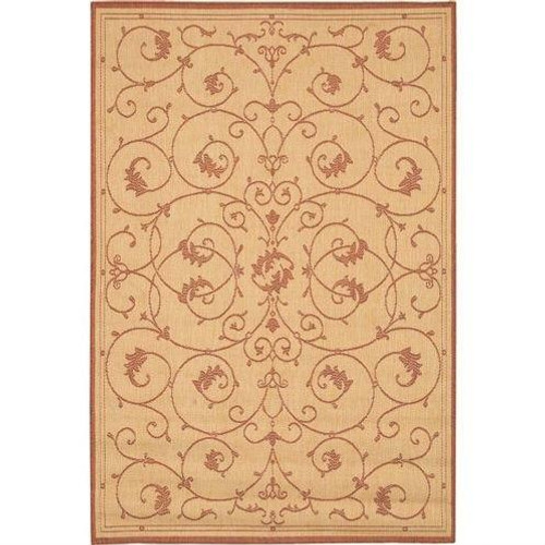 FastFurnishings 76 x 109 Large Area Rug with Floral Vine Leaves Pattern in Terracotta