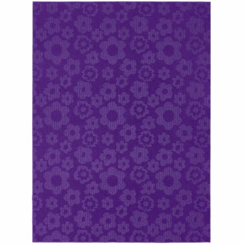 FastFurnishings 5 x 7 Purple Area Rug with Floral Flowers Pattern - Made in USA