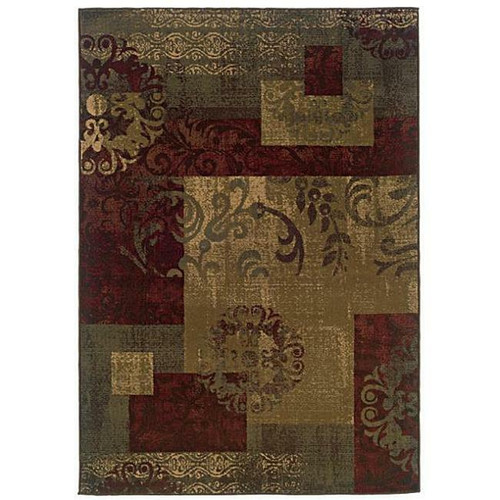 FastFurnishings Dark Green Geometric Floral Stylish Area Rug 82 x 10
