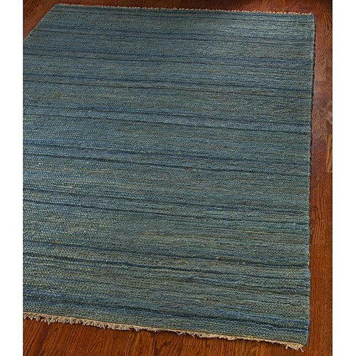 FastFurnishings Hand-knotted All-Natural Oceans Blue Hemp Rug 5 x 8