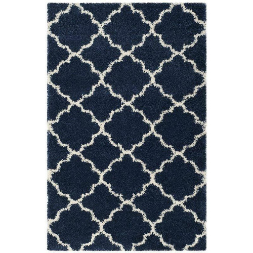 FastFurnishings 8 x 10 Shag Extra Plush Geometric Indoor Blue/Beige Area Rug
