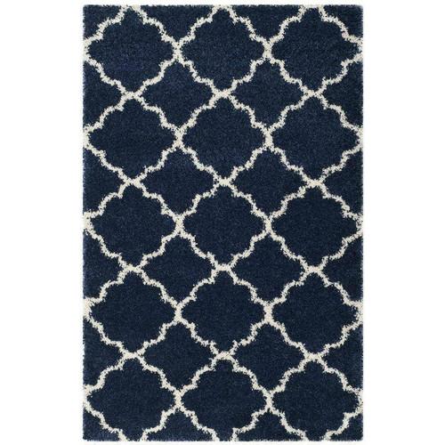 FastFurnishings 8 x 10 Shag Extra Plush Geometric Indoor Blue/Beige Area Rug