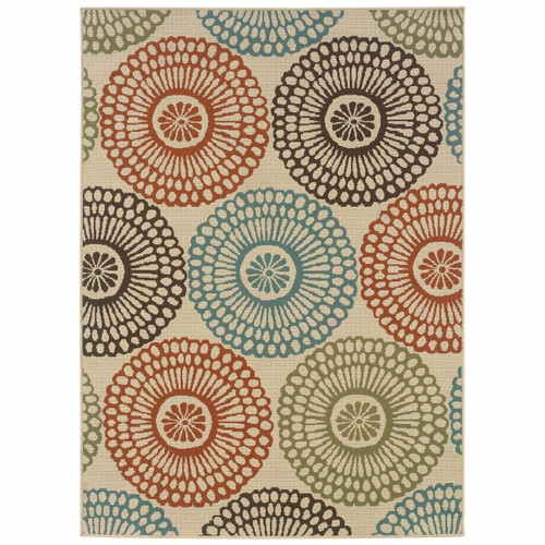 FastFurnishings 710 x 1010 Indoor / Outdoor Beige Area Rug with Colorful Circle Pattern