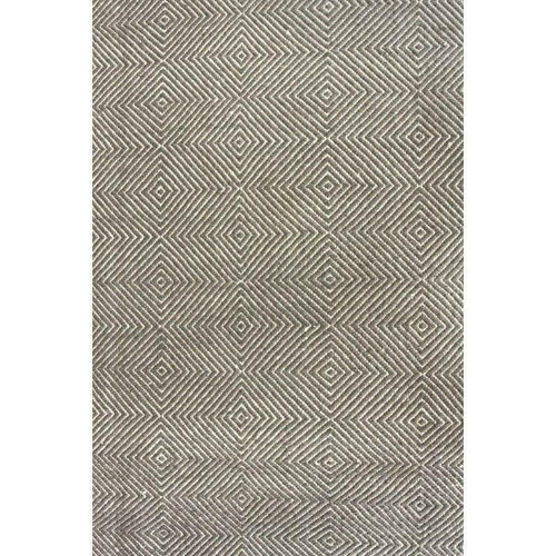 FastFurnishings Gray 4 x 6 Flat Woven Hand Made Wool/Cotton Gray Area Rug