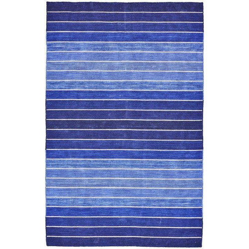 FastFurnishings 5 X 8 Striped Hand-Tufted Wool/Cotton Blue Area Rug