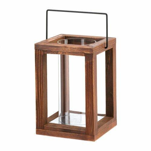 Accent Plus Wood Frame Hurricane Lantern