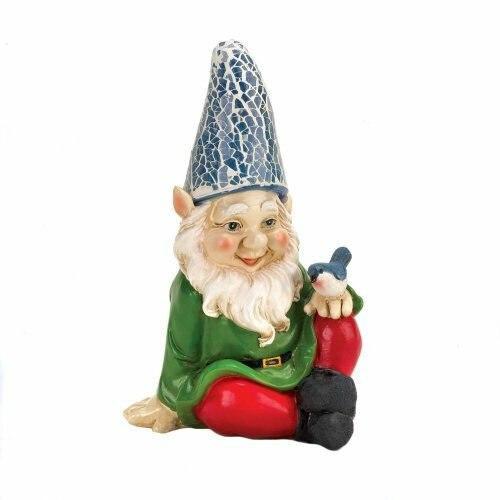 Accent Plus Cheery Gnome Solar Statue