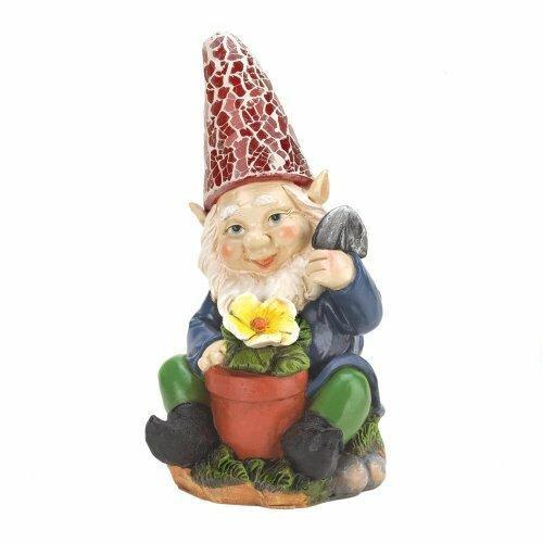 Accent Plus Gardening Gnome Solar Statue