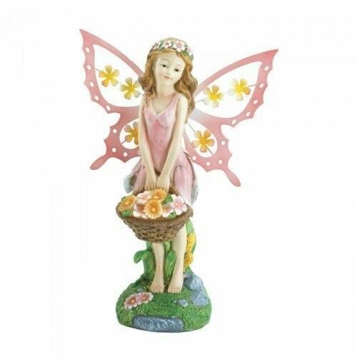 Accent Plus Pink Fairy Solar Garden Statue