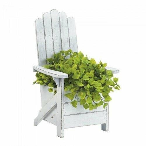 Accent Plus White Adirondack Chair Planter
