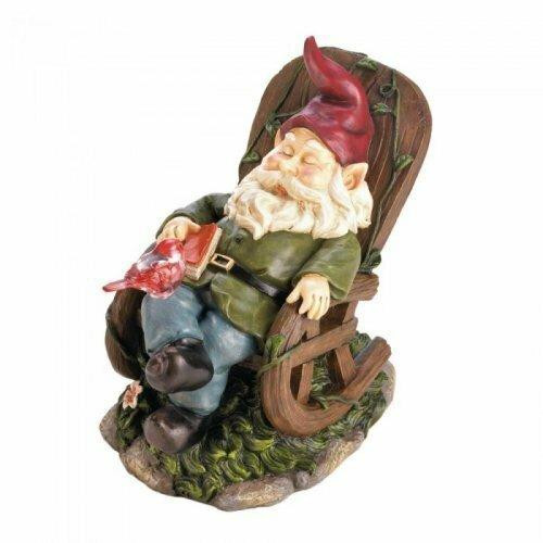 Accent Plus Solar Red Bird Rocking Chair Gnome
