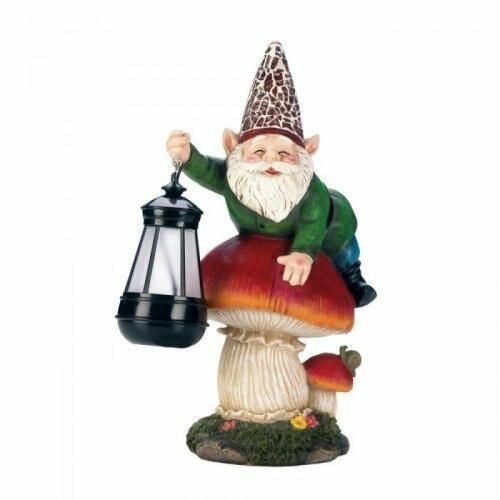 Accent Plus Gnome On Mushroom Solar Statue