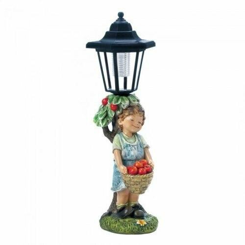 Accent Plus Apple Basket Solar Street Light Statue