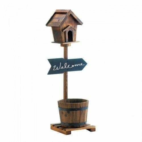 Accent Plus Welcome Birdhouse Rustic Barrel Planter