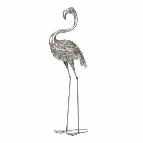 Accent Plus Standing Tall Galvanized Flamingo Statue