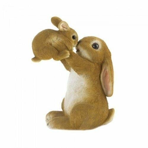 Accent Plus Playful Mom And Baby Rabbit Figurine