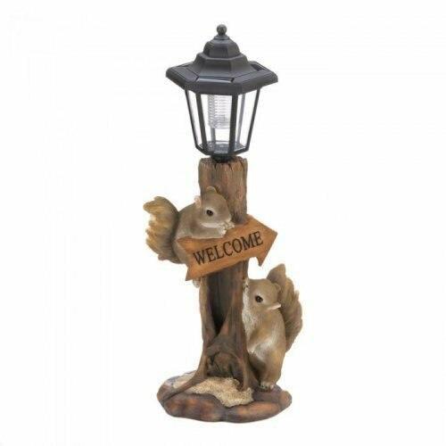 Accent Plus Friendly Squirrels Solar Lamp