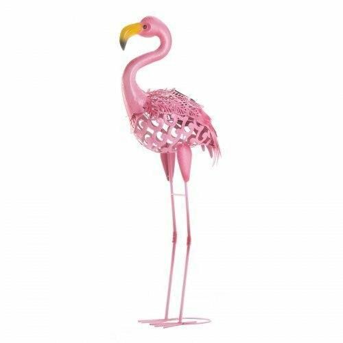 Accent Plus Standing Tall Solar Flamingo Statue