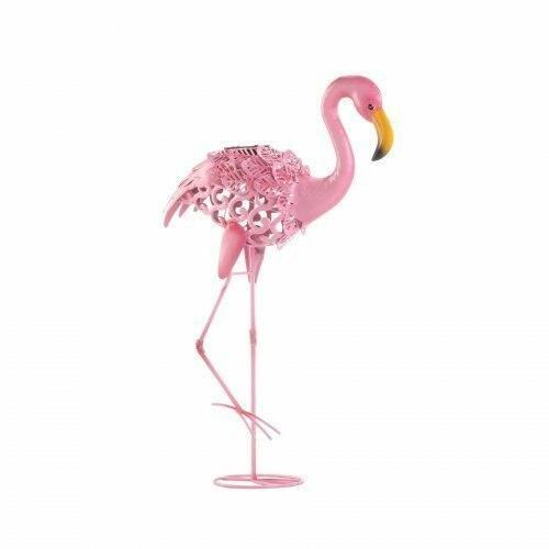 Summerfield Terrace Leaning Solar Flamingo Statue