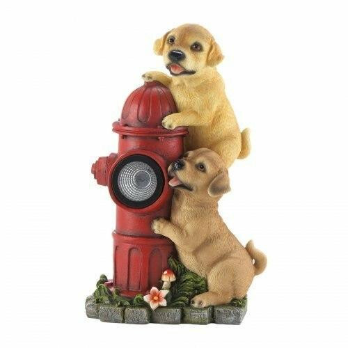 Summerfield Terrace Dogs And Fire Hydrant Solar Statue