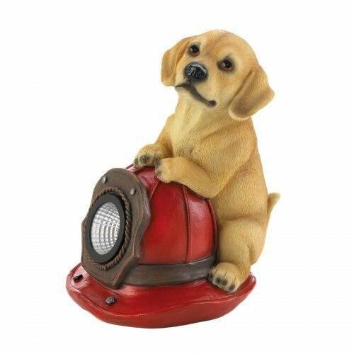 Summerfield Terrace Dog And Fire Helmet Solar Statue