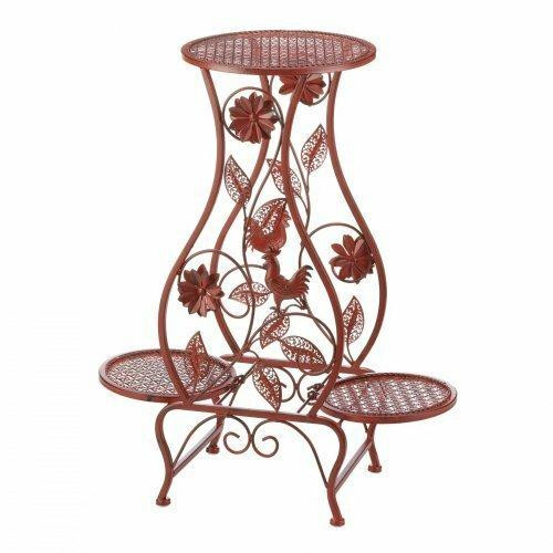 Summerfield Terrace Red Rooster Hourglass Triple Plant Stand