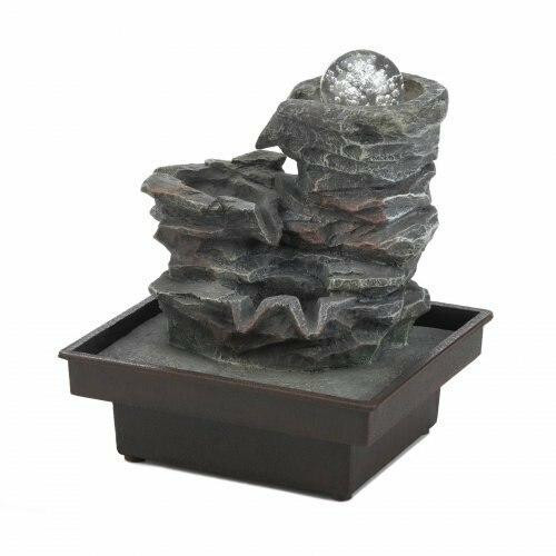 Cascading Fountains Glass Orb On Rocks Tabletop Fountain