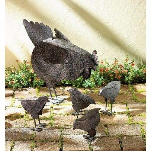 Accent Plus Hen With Chicks Sculpture