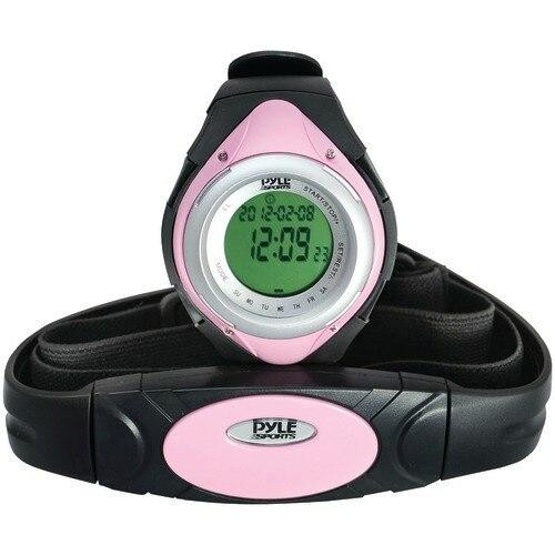 PYLE Pyle Pro Heart Rate Monitor Watch With Minimum, Average Andamp; Maximum Heart Rate pink