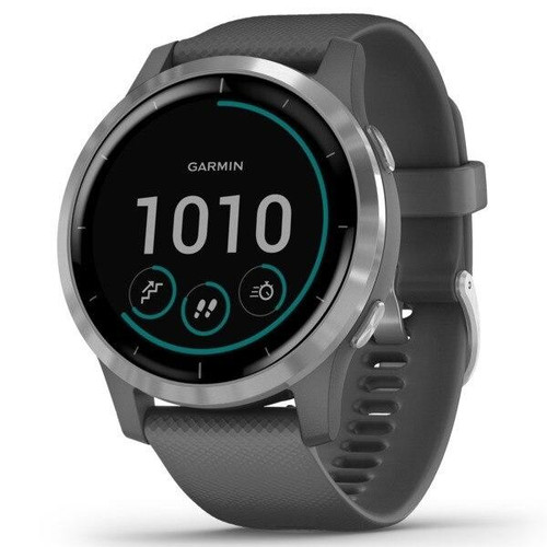 GARMINR Garmin Vivoactive 4 Gps Smartwatch silver Stainless Steel Bezel With Shadow Gray Case And Silicone Band