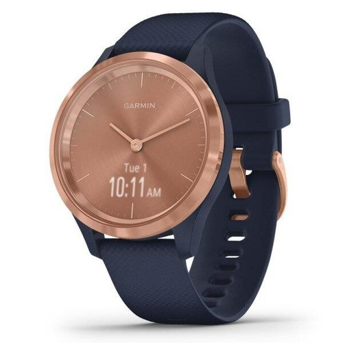 GARMINR Garmin Vivomove 3s Hybrid Smartwatch rose Gold Stainless Steel Bezel With Navy Case And Silicone Band