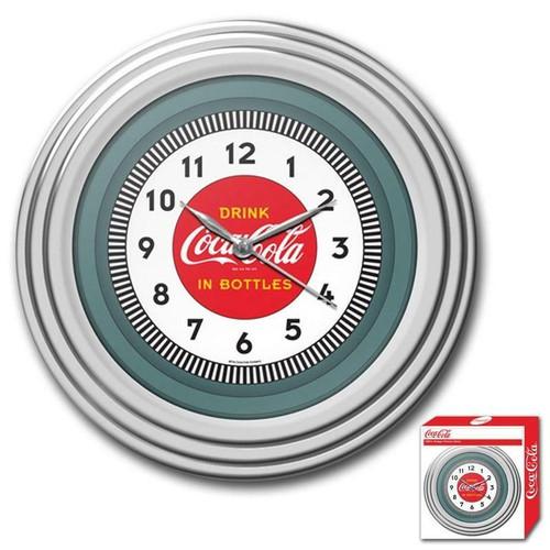 FastFurnishings 30s Style Chrome Coca-Cola Wall Clock