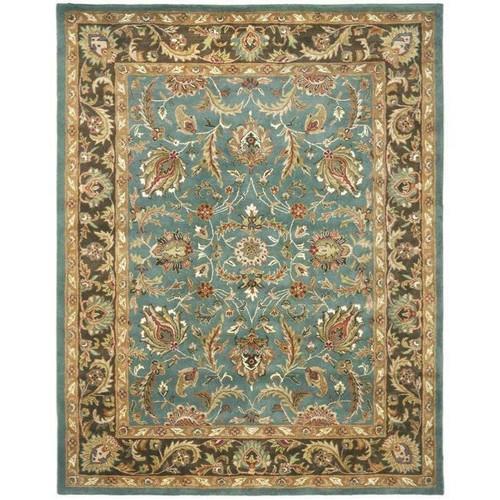 FastFurnishings Handmade Heritage Blue/ Brown Wool Rug 96 x 136