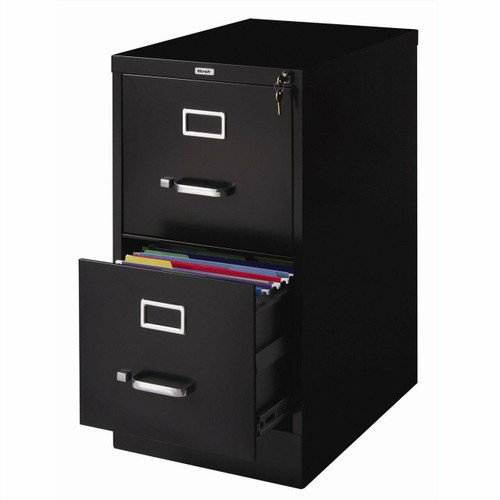 FastFurnishings 2-Drawer Vertical Filing File Cabinet with Lock in Black Metal