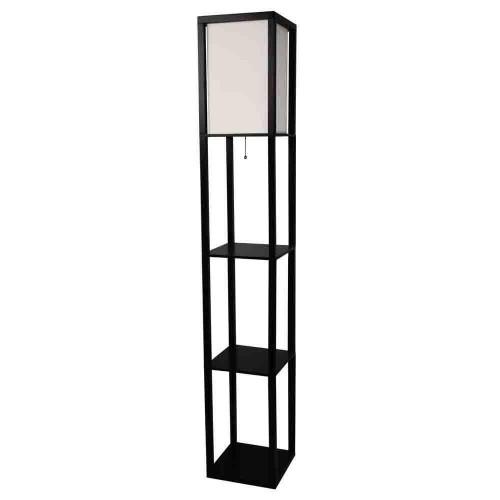 FastFurnishings Black 3-Shelf Modern Floor Lamp with Beige Linen Shade