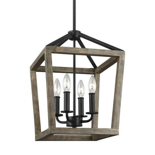 FastFurnishings 4 Light Lantern Adjustable Dimmable Square/Rectangle Chandelier