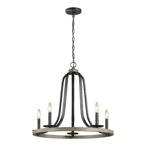 FastFurnishings Rustic 5 Light Dimmable Farm Home Circle Metal Chandelier Oak Finish
