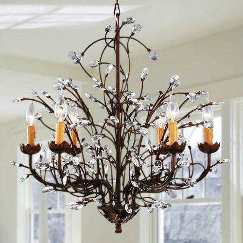 FastFurnishings Antique Bronze 6-light Crystal and Iron Chandelier