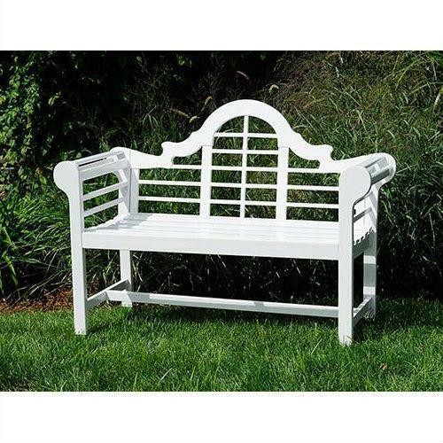 FastFurnishings Outdoor Lattice Back Garden Bench in White Wood Finish