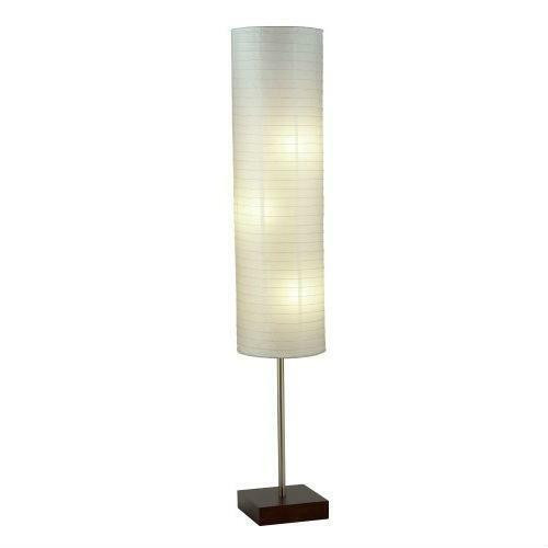 FastFurnishings Modern Asian Style Floor Lamp with White Rice Paper Shade
