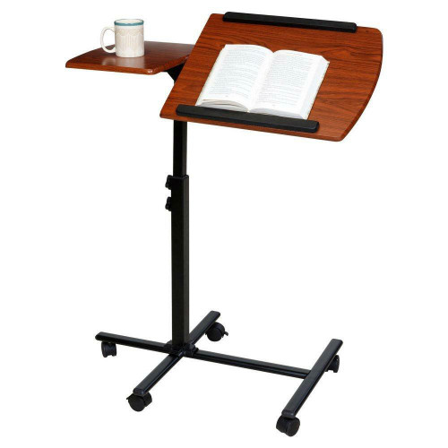 FastFurnishings Adjustable Height Laptop Cart Computer Desk in Cherry Finish