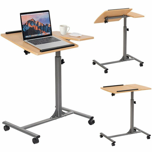 FastFurnishings Mobile Laptop Desk Cart on Wheels with Wood Top