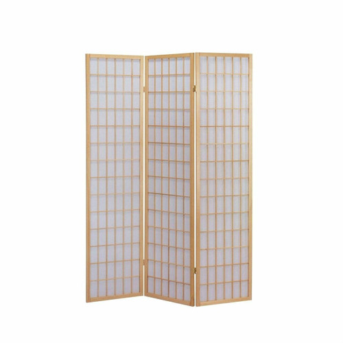 FastFurnishings 3-Panel Wooden Room Divider Japanese Shoji Screen in Natural
