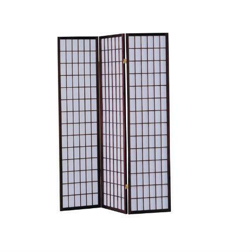 FastFurnishings 3-Panel Room Divider Asian Style Privacy Screen in Cherry Wood Finish