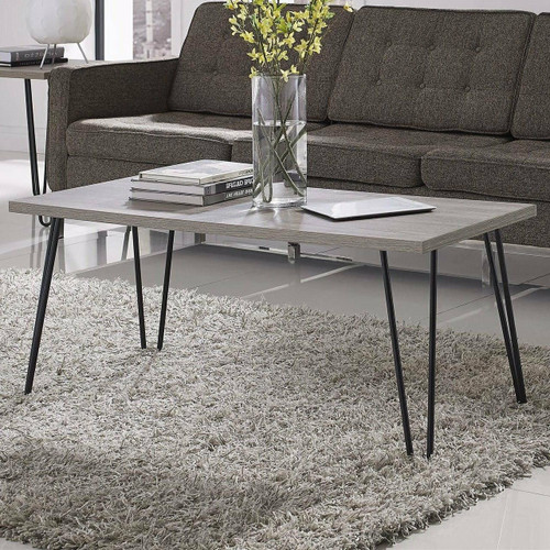 FastFurnishings Modern Classic Vintage Style Coffee Table with Wood Top and Metal Legs