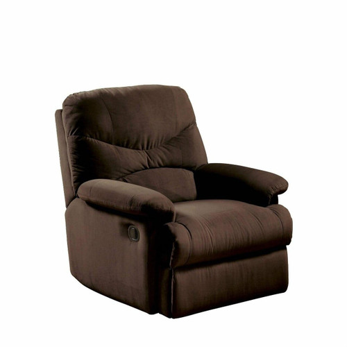 FastFurnishings Comfortable Recliner Chair in Chocolate Brown Microfiber Upholstery