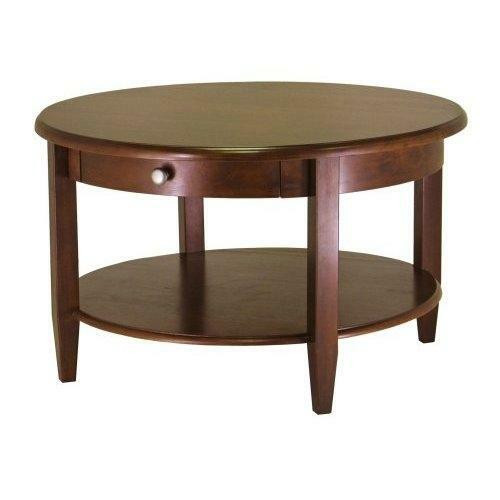 FastFurnishings Circular Round Coffee Table in Antique Walnut Finish