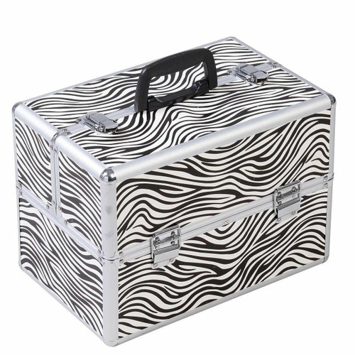 FastFurnishings Portable Jewelry Box Makeup Storage Case Organizer in Zebra