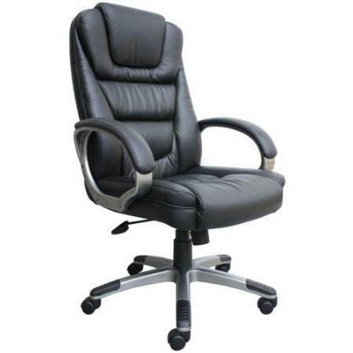 FastFurnishings Ergonomic Black Faux Leather Executive Office Chair