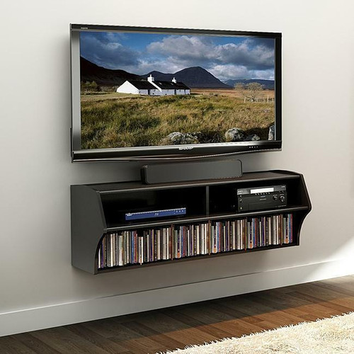 FastFurnishings Wall Mounted A/V Console / Entertainment Center in Black